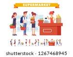 people shopping in supermarket... | Shutterstock .eps vector #1267468945