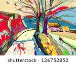 digital art painting of  rural... | Shutterstock .eps vector #126752852