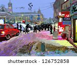 digital art painting of evening ... | Shutterstock .eps vector #126752858