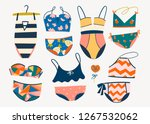 various swimsuits. hand drawn... | Shutterstock .eps vector #1267532062