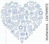 vector set of bussines icons in ... | Shutterstock .eps vector #1267549072