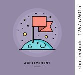 achievement  flag on the moon ... | Shutterstock .eps vector #1267576015