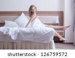 pretty woman in rose lingerie... | Shutterstock . vector #126759572