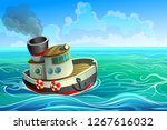 a small steel ship with one... | Shutterstock .eps vector #1267616032