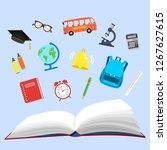 school. open book and school...   Shutterstock . vector #1267627615