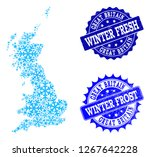 snowed map of great britain and ... | Shutterstock .eps vector #1267642228