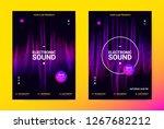 techno music poster. wave flyer ... | Shutterstock .eps vector #1267682212