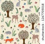 cute animal friends in the... | Shutterstock .eps vector #1267705018