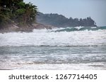 the beach has a strong wind. | Shutterstock . vector #1267714405