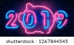 new year pig neon sign  bright... | Shutterstock .eps vector #1267844545