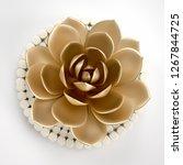 3d render golden leaf and... | Shutterstock . vector #1267844725