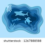underwater deep sea background... | Shutterstock .eps vector #1267888588