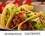 Plate With Taco And Fresh...