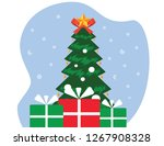 x mas tree with star  new year... | Shutterstock .eps vector #1267908328