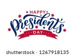 happy presidents day with stars ... | Shutterstock .eps vector #1267918135