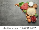 set of natural food high in... | Shutterstock . vector #1267927432