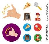 a pizza cutter  a slice  a menu ... | Shutterstock . vector #1267970692
