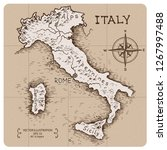 vintage map of italy. hand... | Shutterstock .eps vector #1267997488