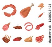 vector design of meat and ham...   Shutterstock .eps vector #1268018428