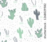 seamless pattern with cactus ... | Shutterstock . vector #1268029582