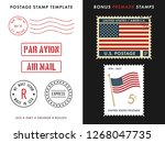 postage stamp template set | Shutterstock .eps vector #1268047735