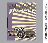 vintage car  hot rod garage ... | Shutterstock .eps vector #1268060212