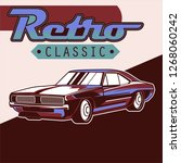 vintage car  hot rod garage ... | Shutterstock .eps vector #1268060242