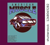 retro party poster with car.... | Shutterstock .eps vector #1268065282