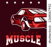 american muscle cars label ... | Shutterstock .eps vector #1268067952