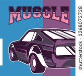 retro style muscle car   vector  | Shutterstock .eps vector #1268072728