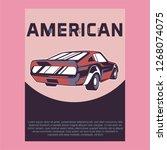 muscle car retro 70s vector... | Shutterstock .eps vector #1268074075
