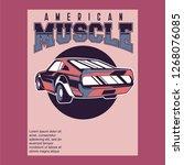 vintage cars old worn sign.... | Shutterstock .eps vector #1268076085