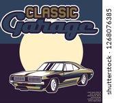 vintage cars old worn sign.... | Shutterstock .eps vector #1268076385