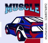 american muscle cars label ... | Shutterstock .eps vector #1268076892