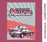 american muscle cars label ... | Shutterstock .eps vector #1268076985