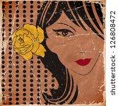 girl head with flower. vector | Shutterstock .eps vector #126808472