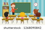 vector illustration of classroom | Shutterstock .eps vector #1268090842