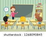 vector illustration of classroom | Shutterstock .eps vector #1268090845