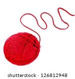Red Yarn Thread Isolated On...