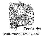 monster simple doodle  cute... | Shutterstock .eps vector #1268130052