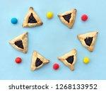 triangular cookies with poppy... | Shutterstock . vector #1268133952
