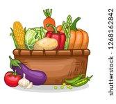 stock vector of basket full of... | Shutterstock .eps vector #1268162842