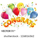 balloons with congratulations | Shutterstock .eps vector #126816362