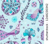 seamless pattern with floral... | Shutterstock .eps vector #1268230342
