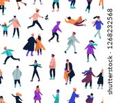 seamless pattern with people... | Shutterstock . vector #1268232568