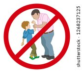 little boy who is grabbed his... | Shutterstock .eps vector #1268237125