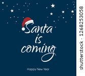 christmas card with santa hat | Shutterstock .eps vector #1268253058