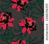 beautiful seamless floral... | Shutterstock .eps vector #1268256355