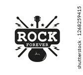 rock emblem. retro label  badge.... | Shutterstock .eps vector #1268259415