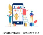 shopping online   flat design... | Shutterstock .eps vector #1268295415